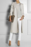bottega venetta cashmere coat and white pants