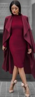 burgundy coat and dress