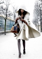 cream cape and gray tights