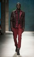 men's brown leather coat and burgundy vest and pants