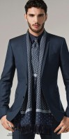 men's draped scarf with navy suit and print scarf
