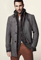 men's gray jacket and sweater