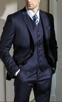 men's pinstriped suit and white shirt