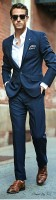 men's suit style blue small tweed