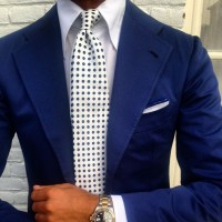 men's suit style cobalt blue suit and tie