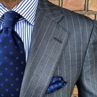men's suit style gray pin stripe suit