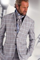 men's suit style gray windowpane suit and blue print scarf
