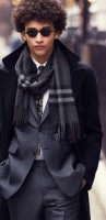 men's suit style plaid scarf