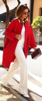 red coat white outfit