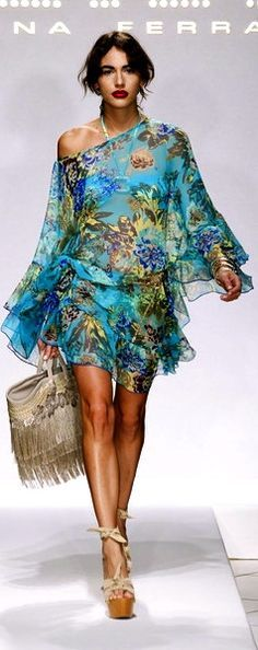 Labor Day Style...Miami outfit, flowy chiffon print sundress
