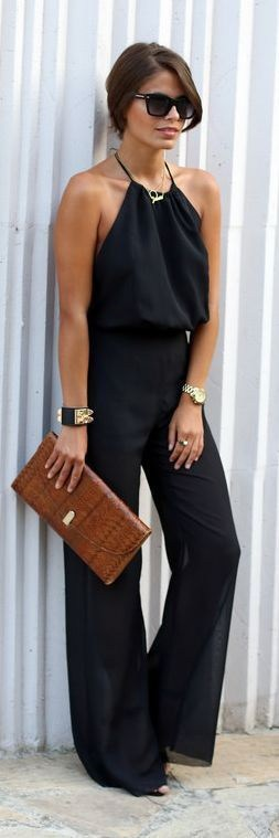 Labor Day Style...NYC outfit, black flowy jumpsuit, gold jewelry and brown clutch