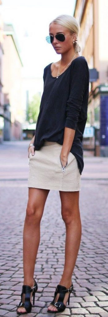 Labor Day Style...NYC outfit, khaki skirt, black long sleeve tshirt, and high heel sandals