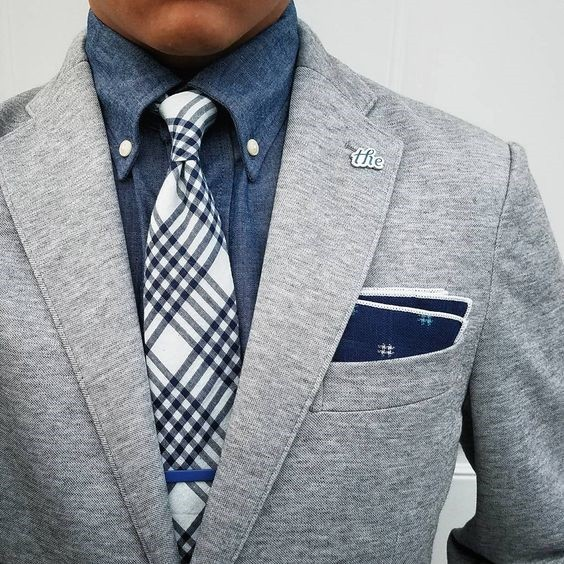 Suits: Office to Evening, Men's gray knit suit chambray button down shirt