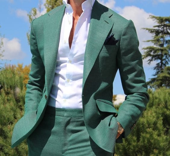 Suits: Office to Evening, Men's green suit with white button down shirt