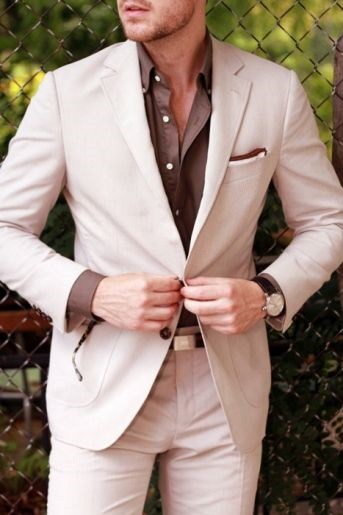 Suits: Office to Evening, Men's khaki suit with brown button down shirt