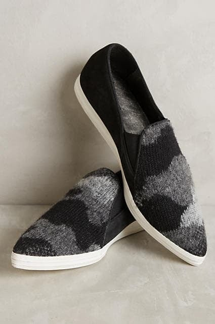 All Black wooly slip on sneakers Anthropologie