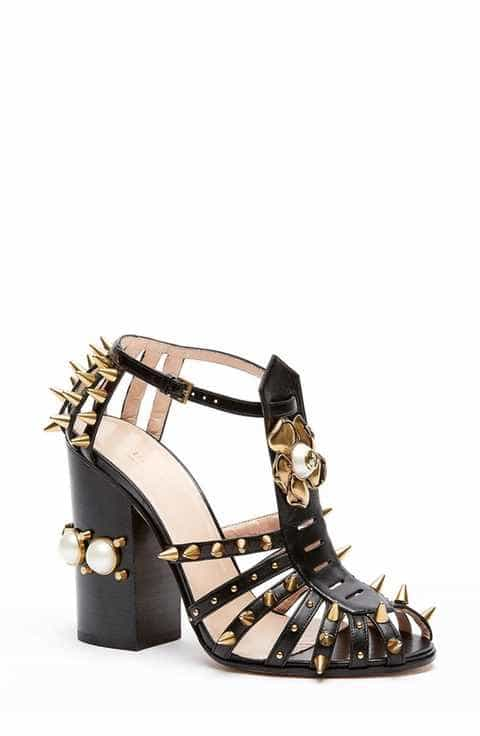 Gucci Kendall Ankle Strap Black Spike Pump