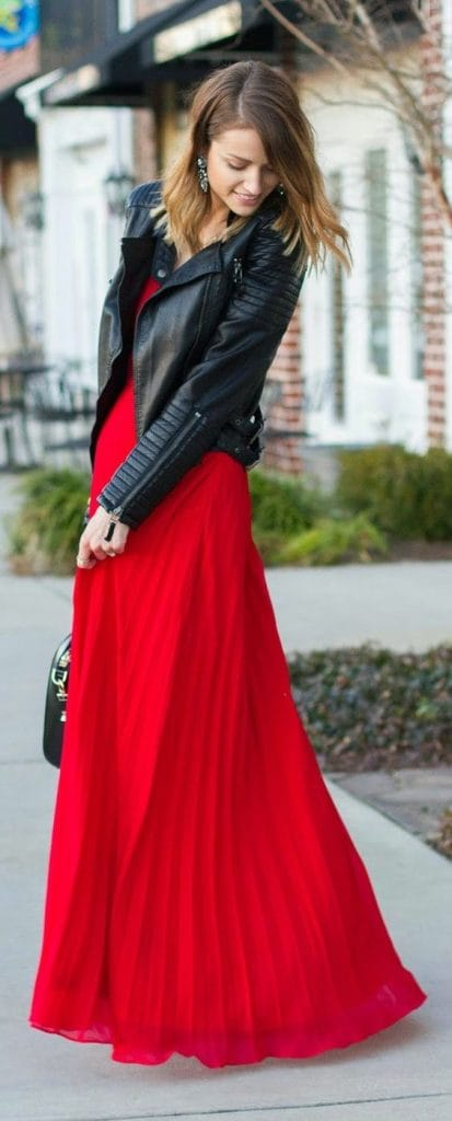 Transition to Fall Fashion, red maxi dress with black leather jacket