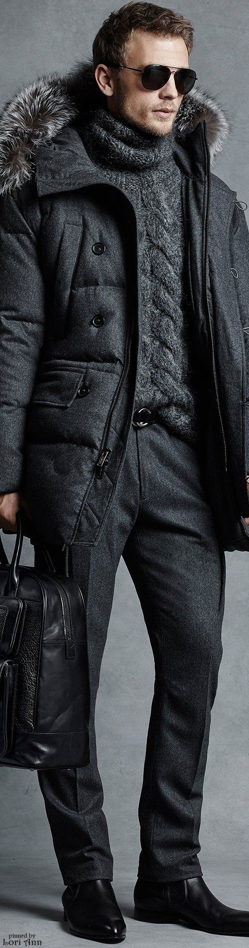 men's charcoal gray monochromatic outfit