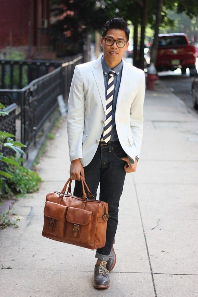 men's white blazer and jeans, men's fall fashion, DC men's stylist