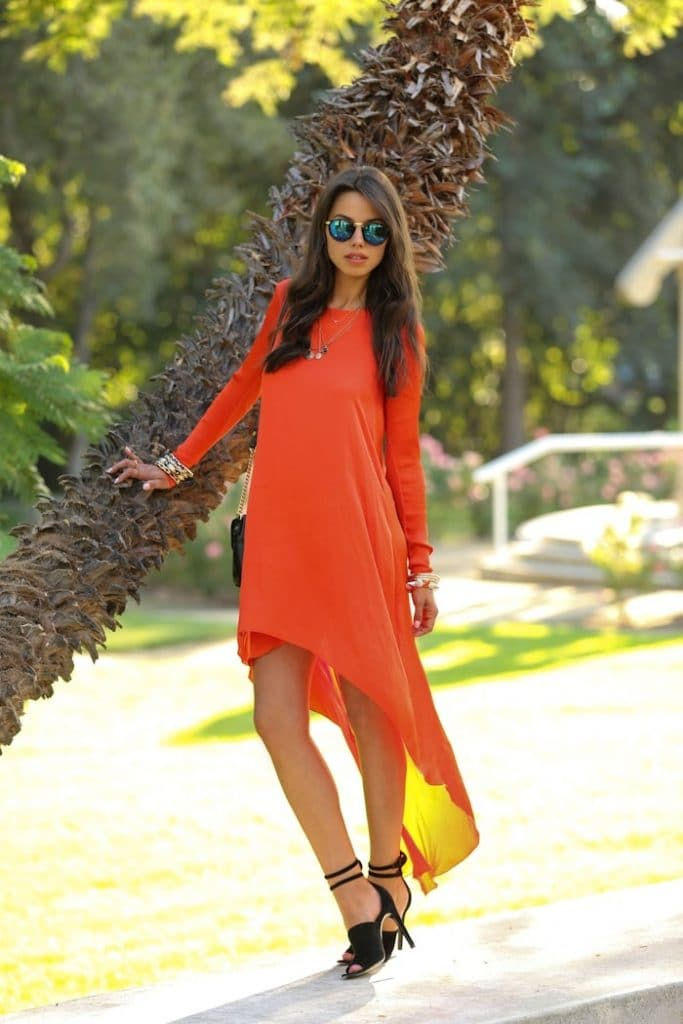 transition to fall BCBG orange low sleeve high low tshirt dress