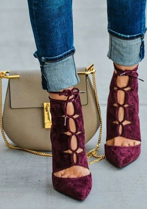 Fall Essentials, velvet, burgundy velvet high heels, cuffed denim, Chloe bag