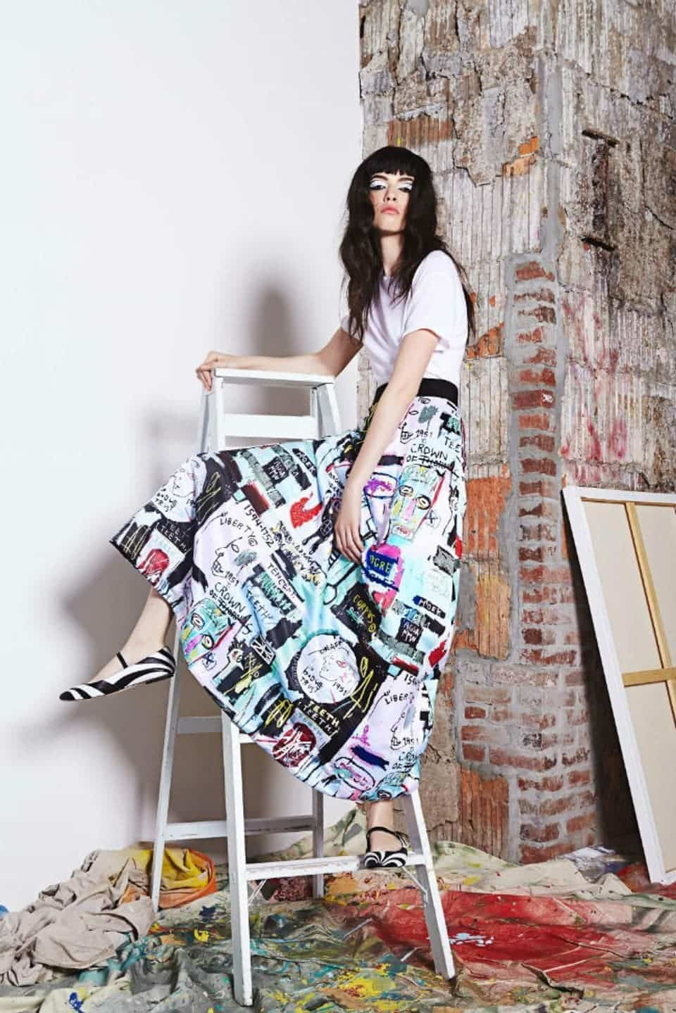 Alice + Olivia Basquiat print skirt