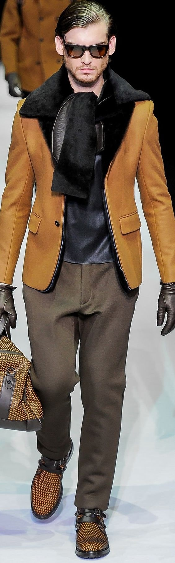 Emporio Armani men's shearling mustard color coat and pants