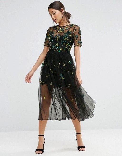 Holiday Attire, black tulle embellished dress by Asos