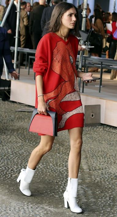 Accessory Trends 2017 white ankle boots and red orange print dress Milan fashion week new