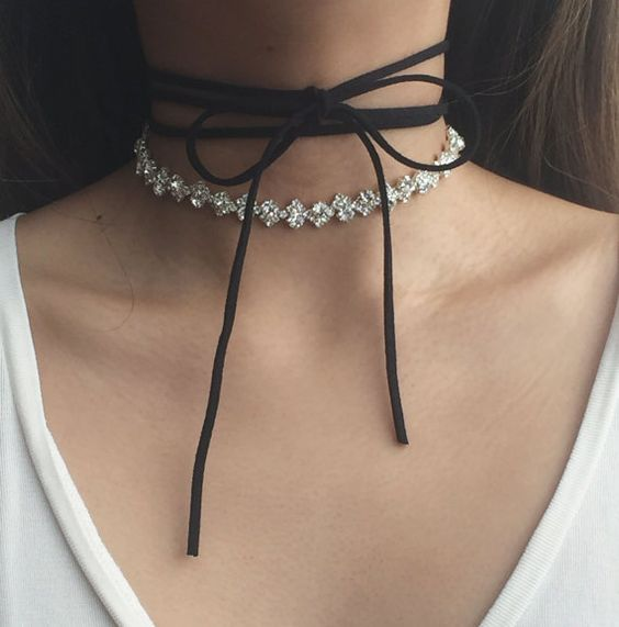 Leather Crystal Necklace