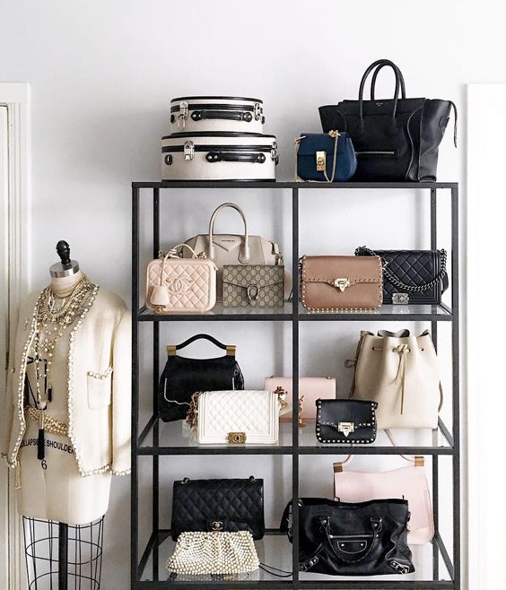 women's closet shelves for pocketbooks and jewelry