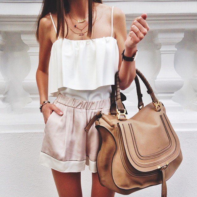 women's silk cream tank top and silk shorts with large chloe satchel