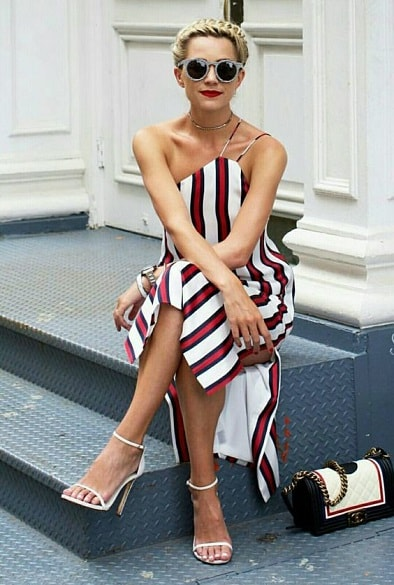 Fourth of July outfit, white with red and blue vertical stripe one shoulder dress