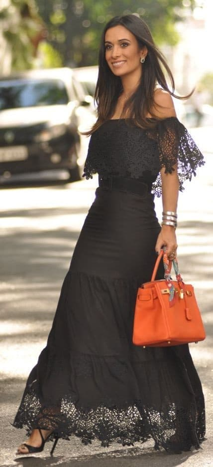 summer date night outfit, black off the shoulder lace maxi dress, orange satchel purse