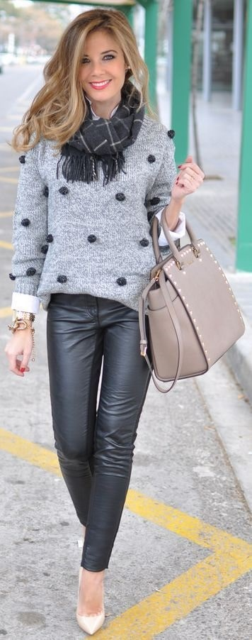 Fall prints...polka dots, polka dot gray sweater and leather pants