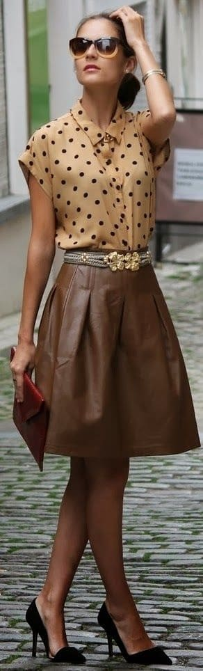 Fall prints. Polka dots. Camel polka dot top with brown leather skirt