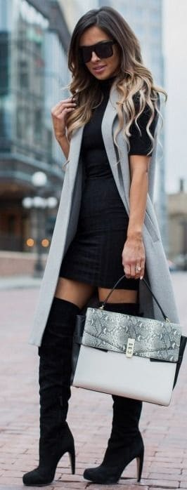 Oots At The Office Black Over Knee Boots With Sweater Dress And Gray