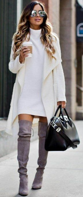 Boots at the office, over the knee gray boots with cream sweater dress and cream jacket