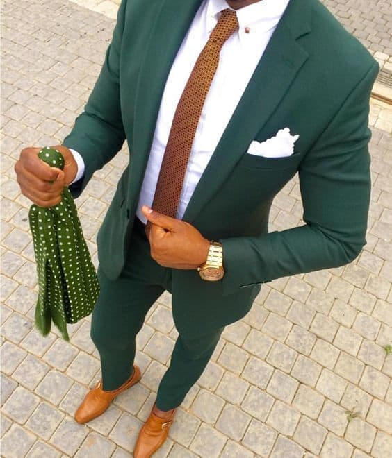 Men's Modern Suiting, men's green suit with camel tie and white button-down shirt