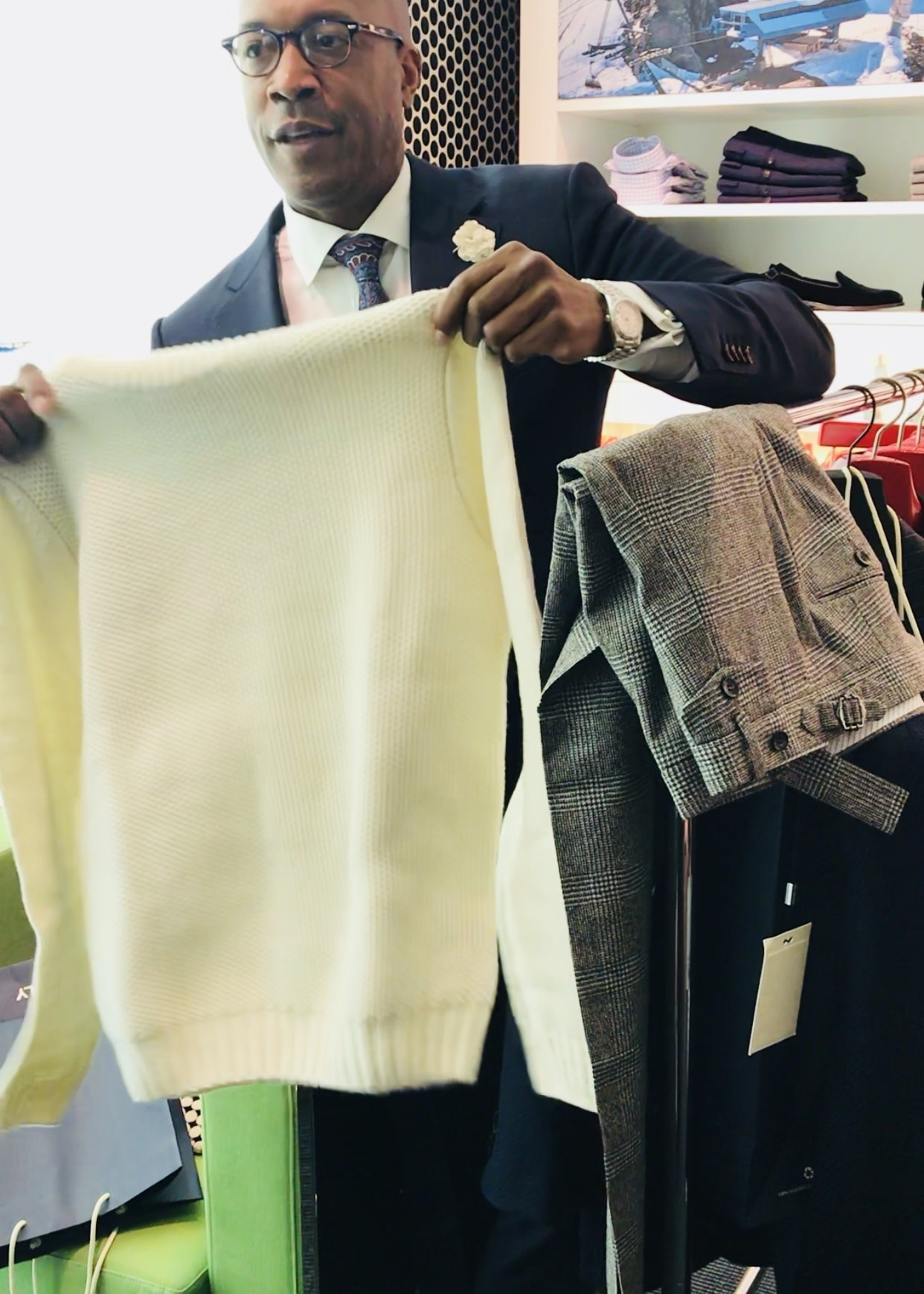 Barnette Holston of DCFashion Fool holiday casual outfit at SuitSupply
