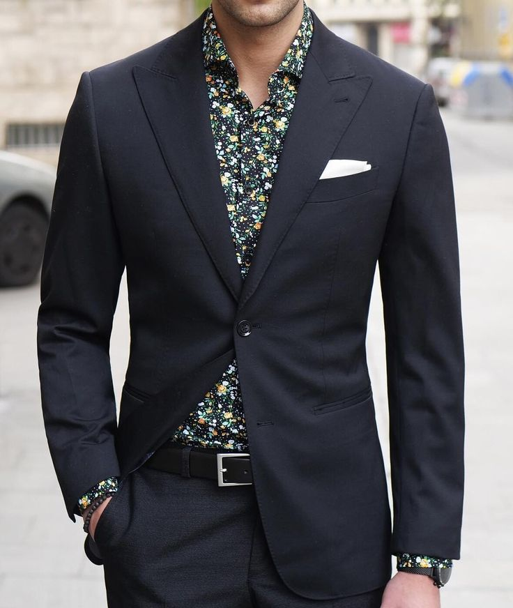 Holiday Office Party Outfit, men's black blazer and floral button down shirt