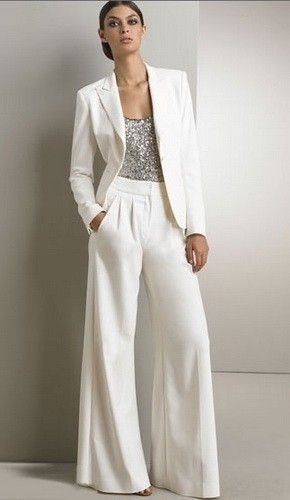 Holiday Office Party Outfit, women's cream pant suit with beaded sequin tank top