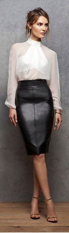 New Years Eve Outfit with What You Own, black leather skirt and white chiffon blouse