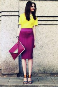Colors that Beat the Winter Blahs, purple pencil skirt and clutch with yellow top