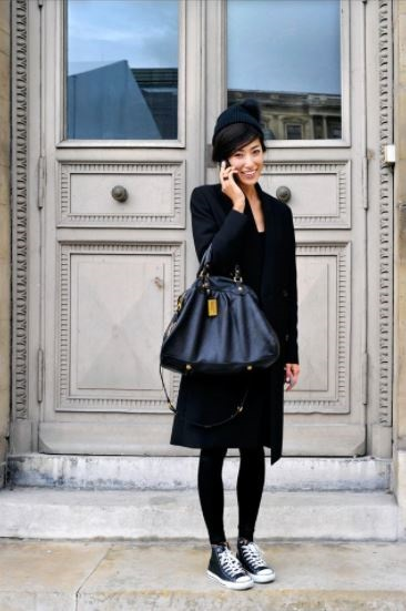 Parisienne Style, black dress, black blazer, black beret and sneakers