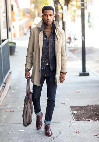 men's night on the town outfits, laid back cool denim, trench coat, jean jacket and turtleneck