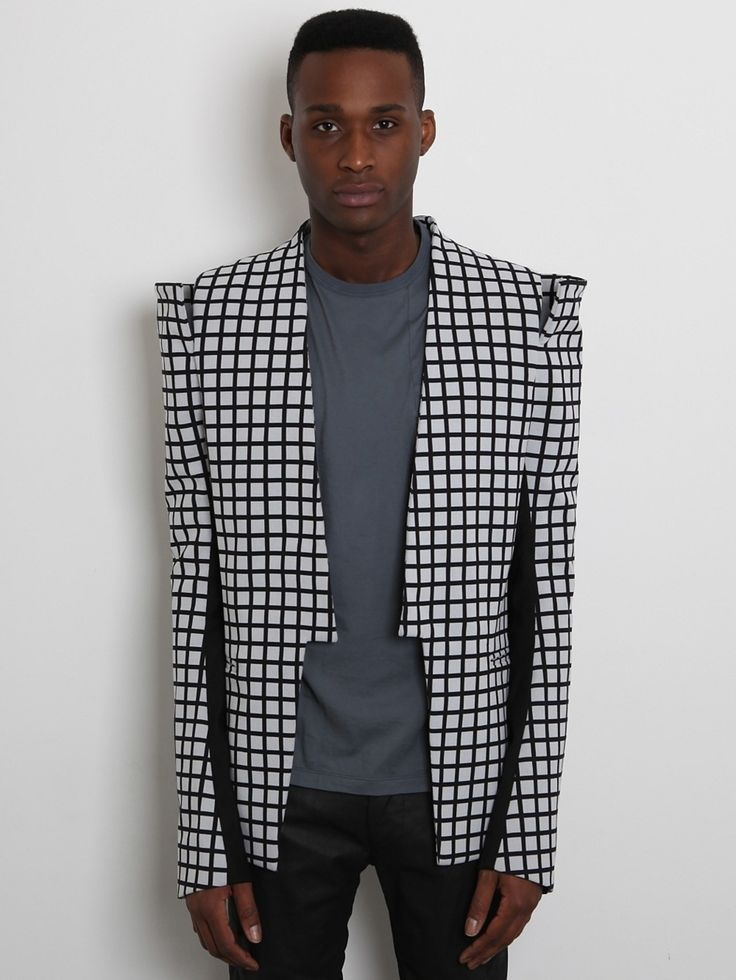 3 Key Pieces that Change Your Look, men's statement jacket, Gareth Pugh Men's Shoulder Detail Jacket in black / white