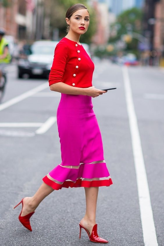 Galentine's Day fashion outfit, valentine's day work outfit, red blouse, pink midi skirt and red mules