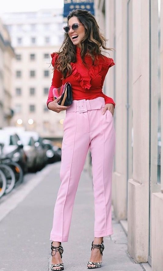 Galetines Day fashion red blouse and pink pants